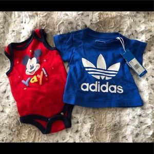 Other - Adidas top & Mickey Onesie